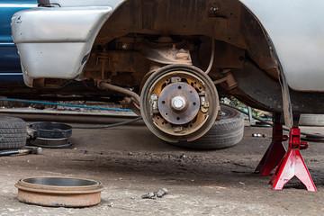 Repairing brake pads of old car