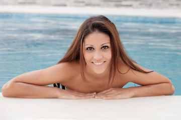 Cool pretty girl taking a dip