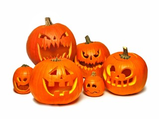 Large group of Halloween Jack o Lanterns over a white background