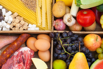 Various food full of proteins, meat, fish, eggs, cheese