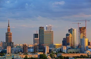 Twilight over the center of Warsaw. HDR - high dynamic range