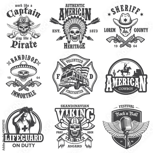 1a14cb097ca Set of vintage lifestyle emblems