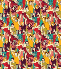 Crowd active happy people seamless color pattern