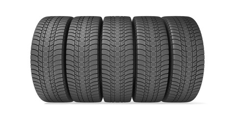 Winter tires isolated on the white background