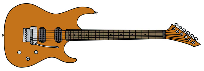 Orange electric guitar / Hand drawing, vector illustration
