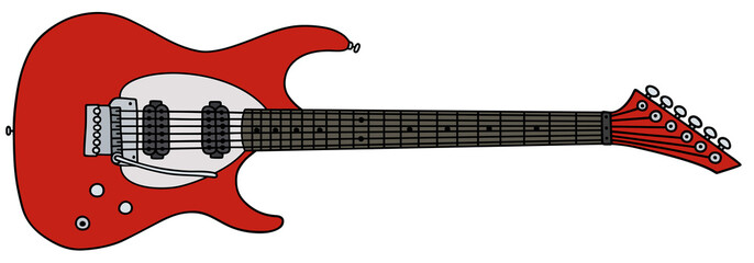 Red electric guitar / Hand drawing, vector illustration