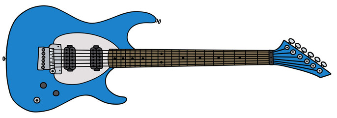 Blue electric guitar / Hand drawing, vector illustration
