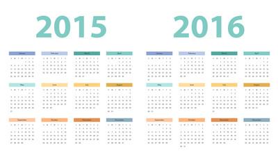 2015 and 2016 years calendar