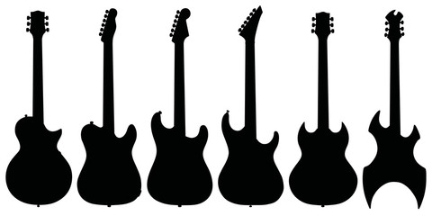 Set of six electric guitars / Hand drawing, vector illustration