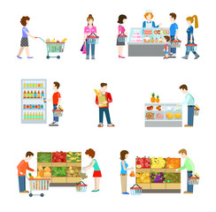 Grocery supermarket store, shoppers, buyers, vegetable, fruit