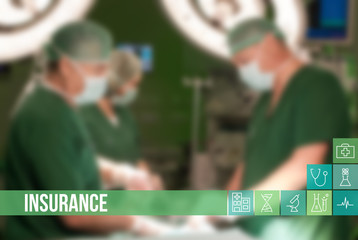 Insurance medical concept image with icons and doctors on background