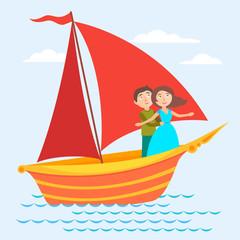 Vector Scarlet Sails illustraton
