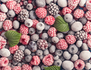 Frozen berries background