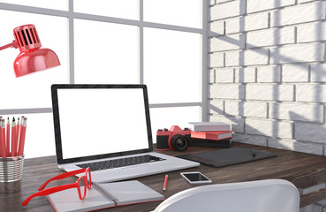 3D illustration laptopand work stuff on table near brick wall