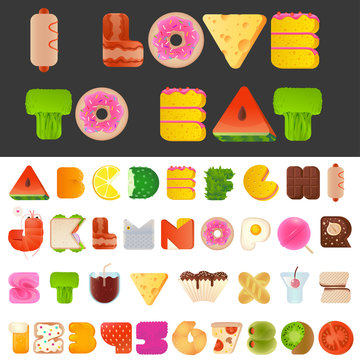 Stylish yummy food letters and numbers latin font