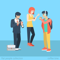 Flat vector casual people drink coffee and smoking cigarette