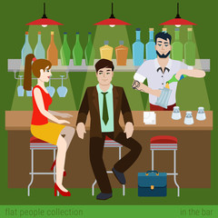 Flat vector couple in the bar counter and barman fill beer