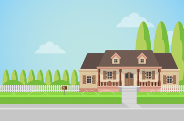 Flat vector countryside family house building with lawn