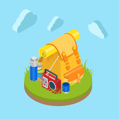 Backpack on grass in travel vector flat isometric design