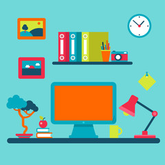 Home interior workplace and distant work flat vector concept