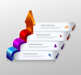 3d arrow grow infographic background template