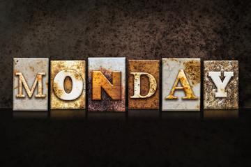 Monday Letterpress Concept on Dark Background