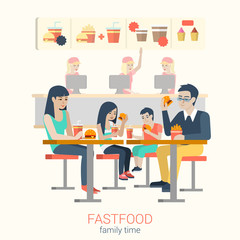 Family in fastfood cafe eating burger fries: flat vector food