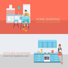 Flat vector online activity: in home interior, people in kitchen
