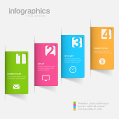 Step label 3D infographics mockup template vector background