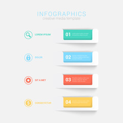 Step blocks infographics mockup template vector background