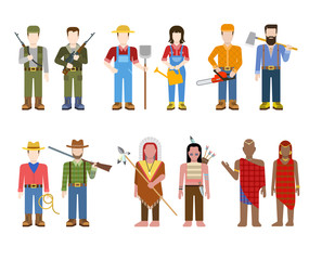 Flat nation people: military, farmer, redneck, cowboy, indian