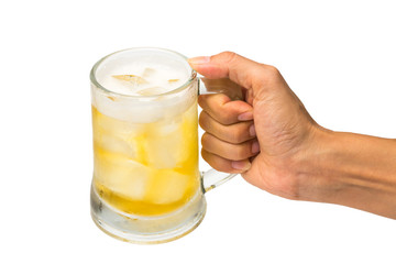 Hand hold a mug of beer on white background.