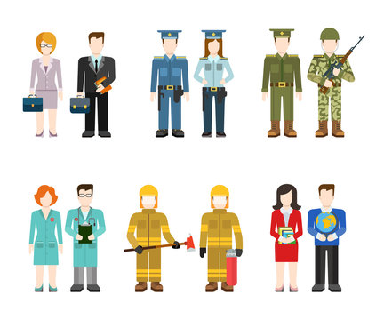 Flat professions uniform: army, police, doctor, fireman, teacher