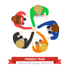 Friendly team work in vector flat: hand on hand, support, staff