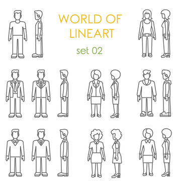 People icons graphical lineart vector set. Line art collection
