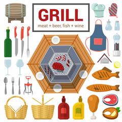 Flat vector icon of grill meat fish barbecue BBQ cooking outdoor