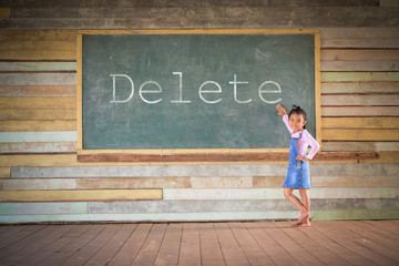 Little girl clear the old green chalkboard