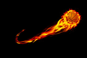 Fire burning basketball with background black