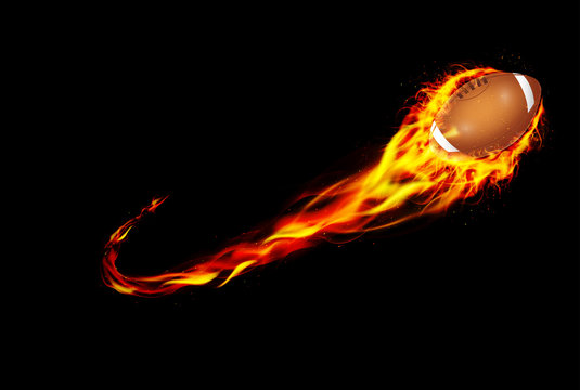 Fire burning American football with background black
