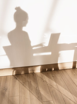 shadow on the wall of a woman sitting and working on her laptop