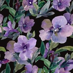 Watercolor illustration of petunia flowers seamless pattern