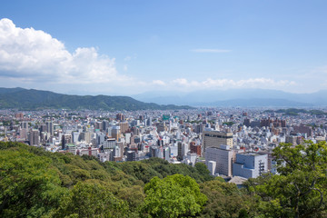 松山城からの松山市の眺め