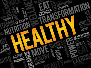HEALTHY word cloud, fitness, sport, health concept