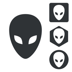 Alien icon set, monochrome