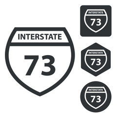 Interstate 73 icon set, monochrome