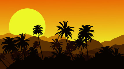 Sunset in the tropical hills with silhouettes of palm trees. Vector illustration.