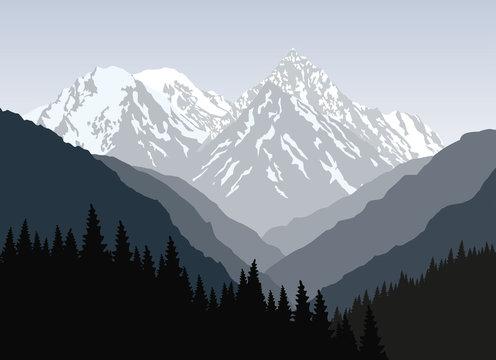 Beautiful mountain landscape at morning. Vector illustration.