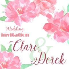Wedding invitation watercolor peony