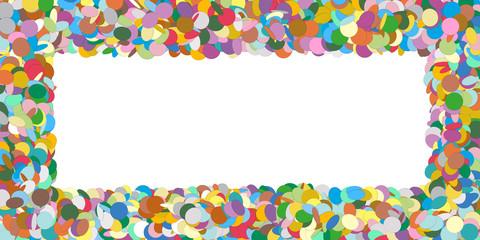Abstract Colourful Horizontal Vector Confetti Panorama Frame - Formed as Rectangle Banner - Konfetti Hintergrund, Freifläche, Textfläche, Website Head, Vorlage, Karte, Flyer