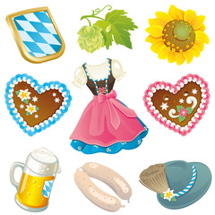 Set of German Oktoberfest design elements isolated on white background